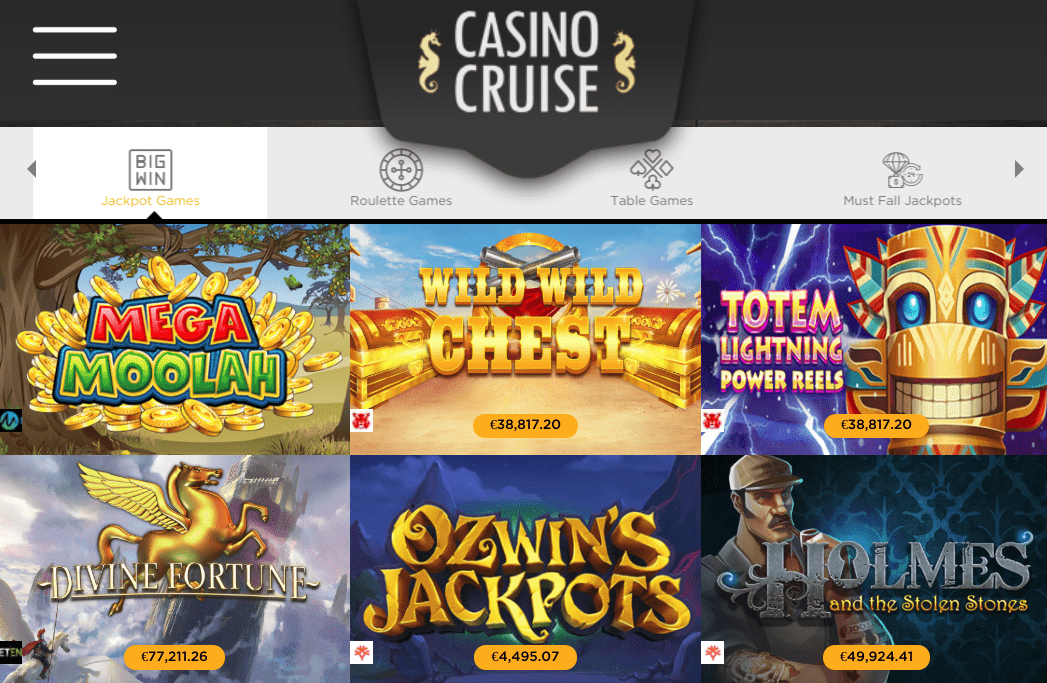Casino Cruise Game Selection / Jackpot Games