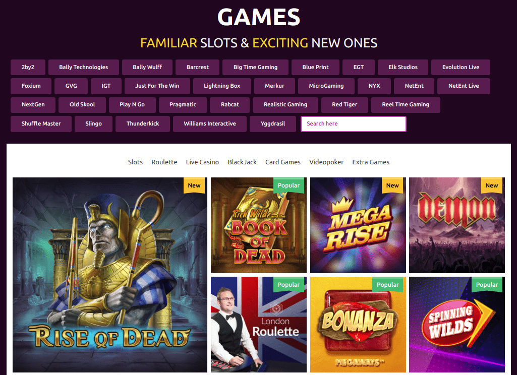 Slots Magic Game Selection