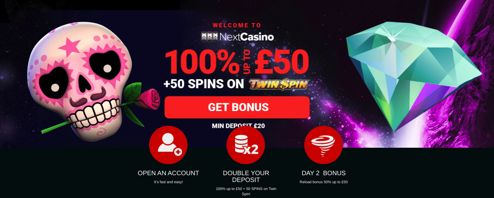 next casino welcome offer