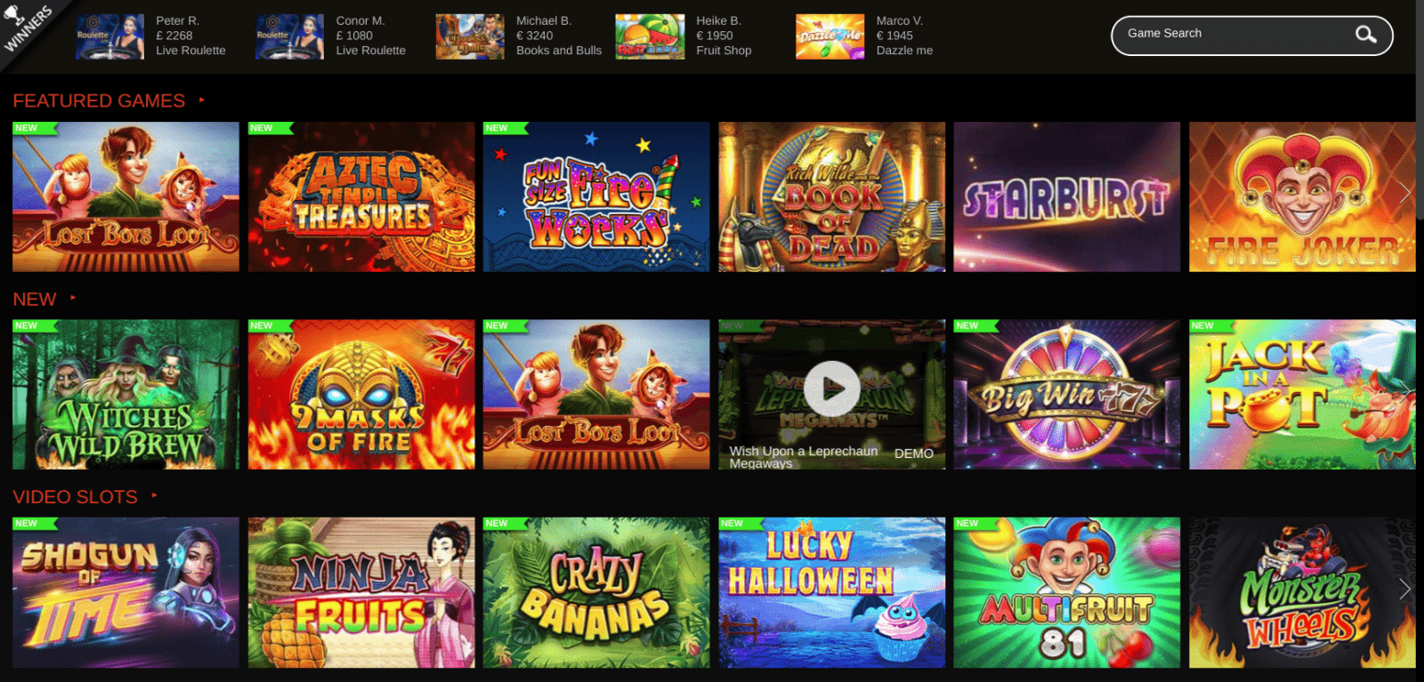 Wildslots Game Selection