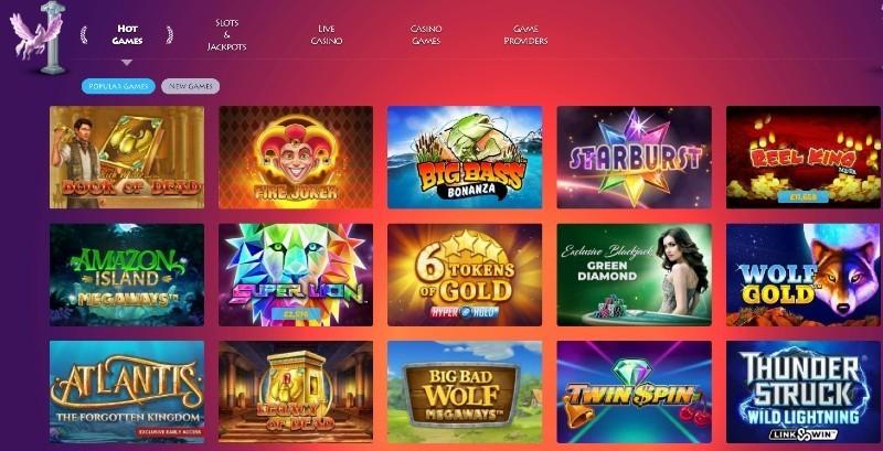 Screenshot of the Casino Gods game selection