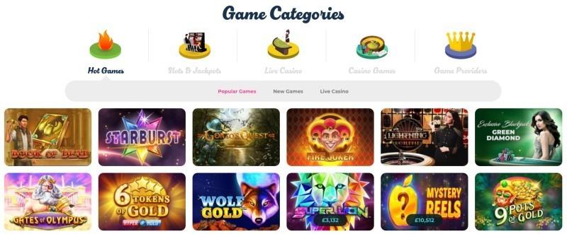 Screenshot of the Casino Joy game selection