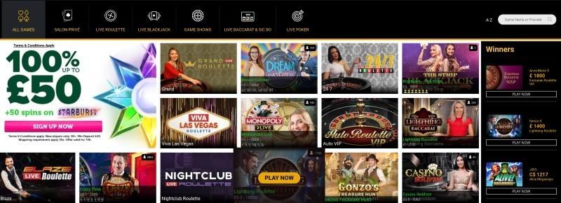 CasinoLuck live casino game selection