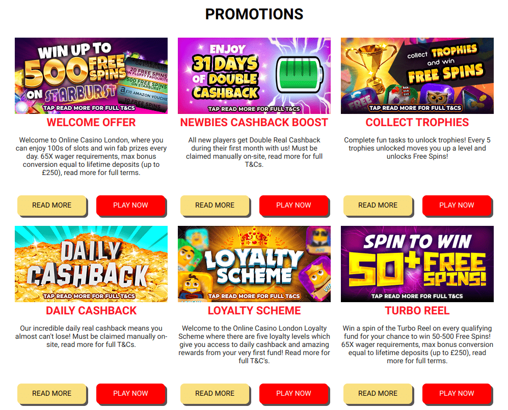 Online Casino London promotions