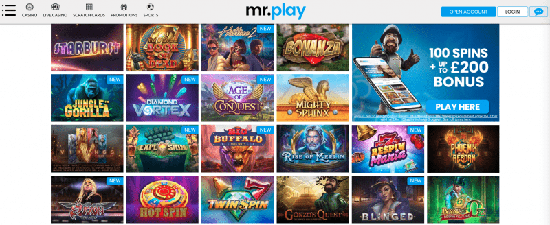 mr. play game selection