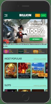 Billion Casino on Mobile device