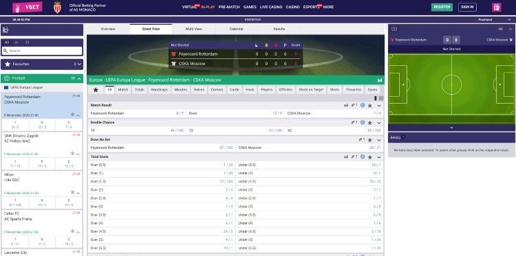 VBET In-Play Bets