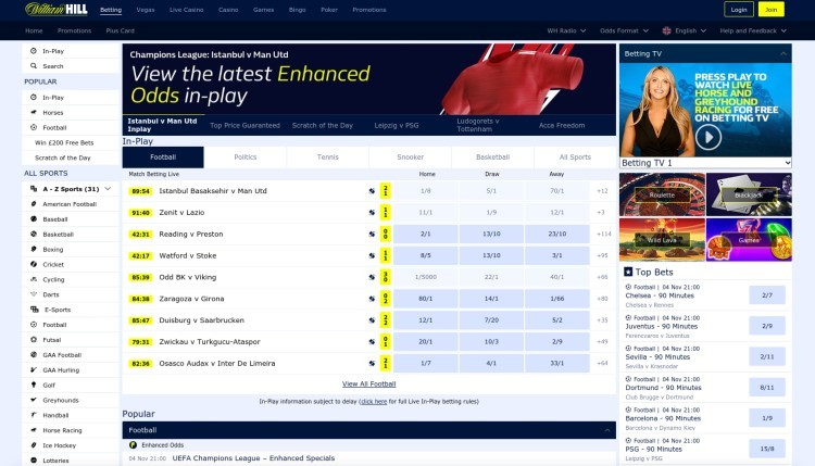William Hill Sport Screenshot