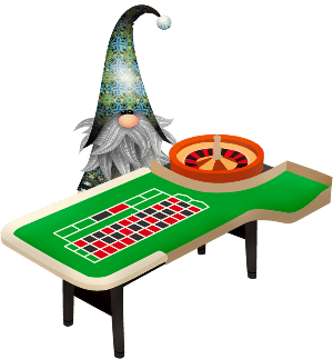 Roulette table and gnome