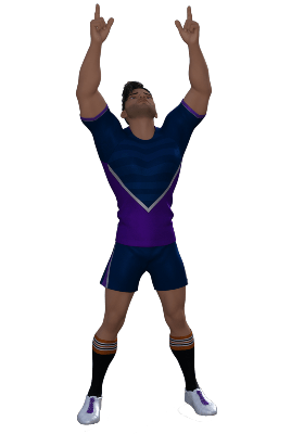 Rugby player pointing upwards