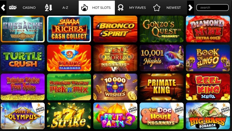 Screenshot of the game selection at Swanky Bingo