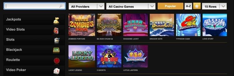 Screenshot of Videoslots game selection