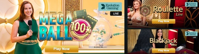 Screenshot of Videoslots live casino game selection