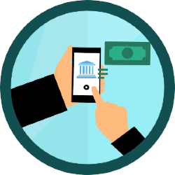 Illustration of person sending money from bank account