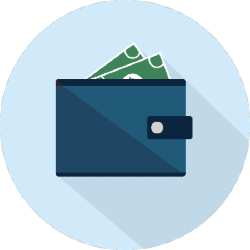 illustration of an e-wallet: wallet with money in it