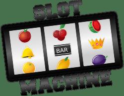 Slot machine with three wheels and fruit symbols