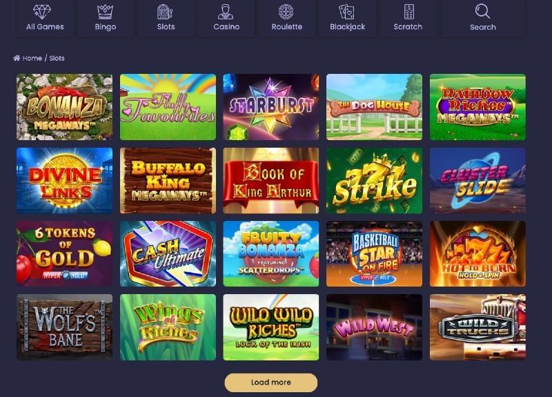 screenshot of the Jackpot Mobile Casino game selection