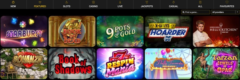 Screenshot of the game selection at Vegas Mobile Casino