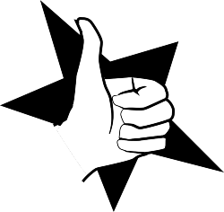 Thumbs up over a black star
